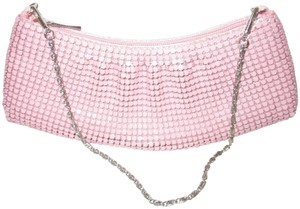 Bijoux Terner Lined Chain Mail Silver Hardware Mini Wristlet in Pink