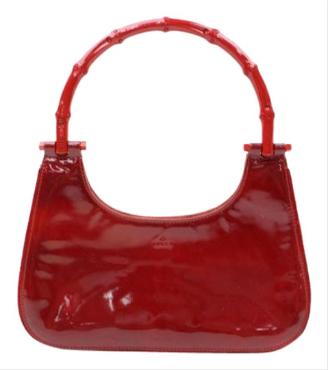 Gucci High-end Bohemian Mint Vintage Asian Influenced Dressy Or Casual Rare All Color Satchel in true red patent leather & red bamboo handle