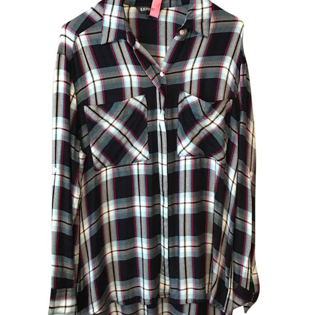 Preload https://item1.tradesy.com/images/express-multicolor-plaid-flannel-blouse-button-down-top-size-8-m-21565275-0-1.jpg?width=400&height=650