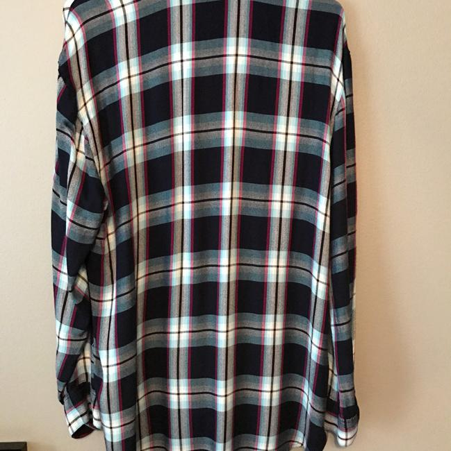 Express Plaid Flannel Blouse Long Sleeve Button Down Shirt multi