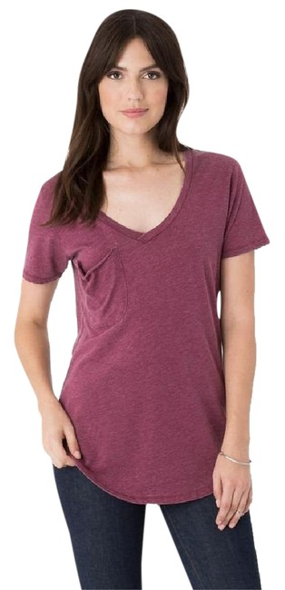 Z Supply Casual Comfortable V-neck Sexy Flowy T Shirt Sangria