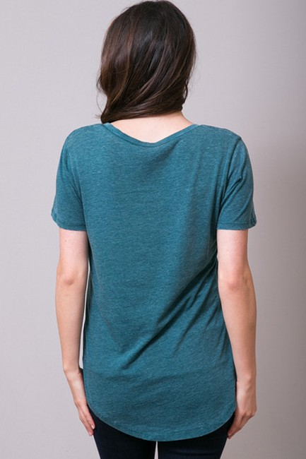 Z Supply Comfortable V-neck Flowy Sexy Casual T Shirt turquoise