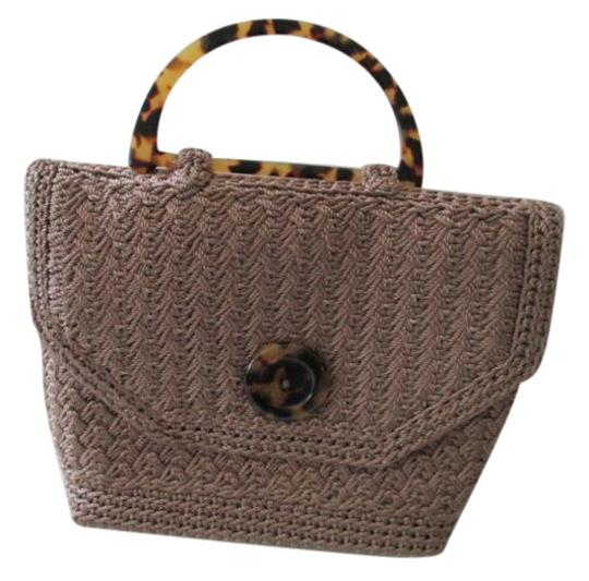 Preload https://img-static.tradesy.com/item/21565342/christian-livingston-collection-mini-taupe-shell-handle-tan-woven-crocheted-satchel-0-1-540-540.jpg