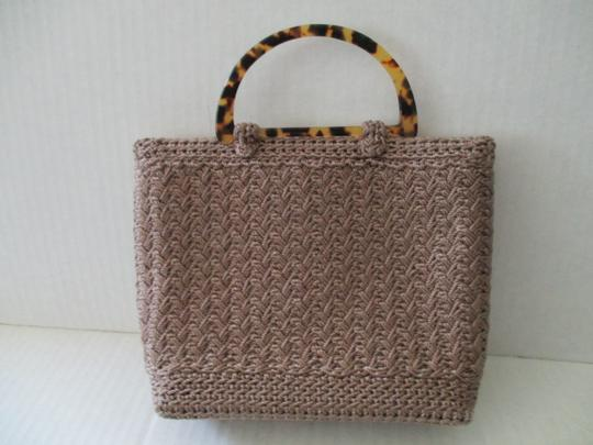 Christian Livingston Collection Crochet Taupe Tortoise Shell Petite Satchel in Tan