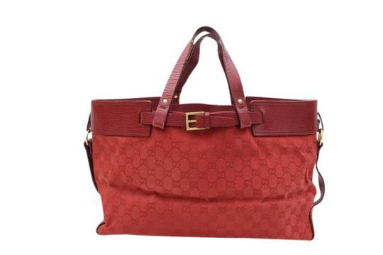 Gucci Great Everyday Perfect Medium Excellent Condition Dressy Or Casual Perfect Pop Of Color Tote in red large G logo print canvas & red leather