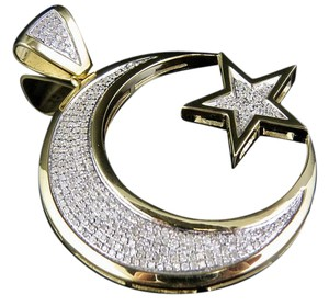 Other 10K Yellow Gold Crescent Moon Star Genuine Diamond Pendant Charm 9/10