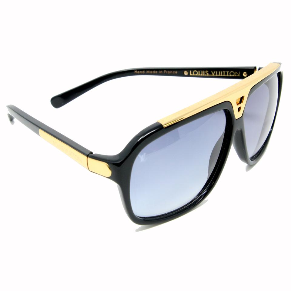 0c01ee0c4a6 Louis Vuitton Black Mens Unisex Monogram Gold Bar Frame Aviator Evidence  Sunglasses