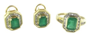 14KT SOLID YELLOW GOLD EARRINGS + RING EMERALD DIAMOND SET LOT FINE JEWELRY BAND