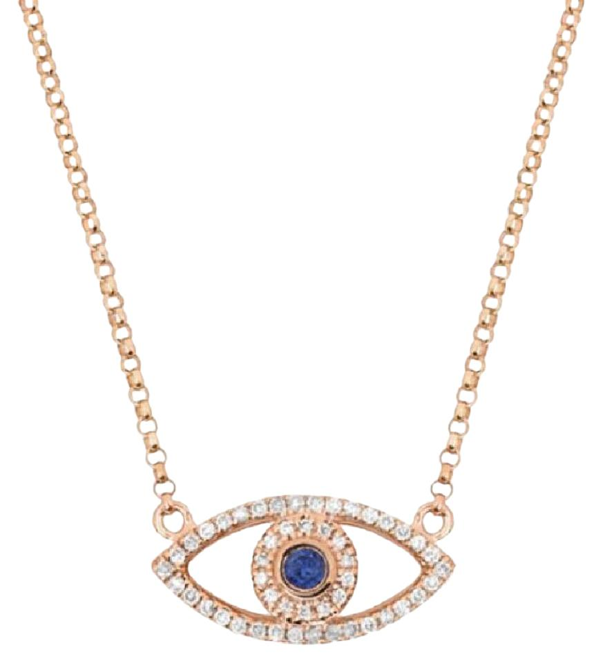 sapphire jewelry sterling evil inch in cz bling silver eye necklace