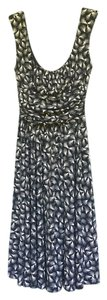 Black and white Maxi Dress by Maggy London Fit Flare Swing Dance Feathers Pattern Ruching