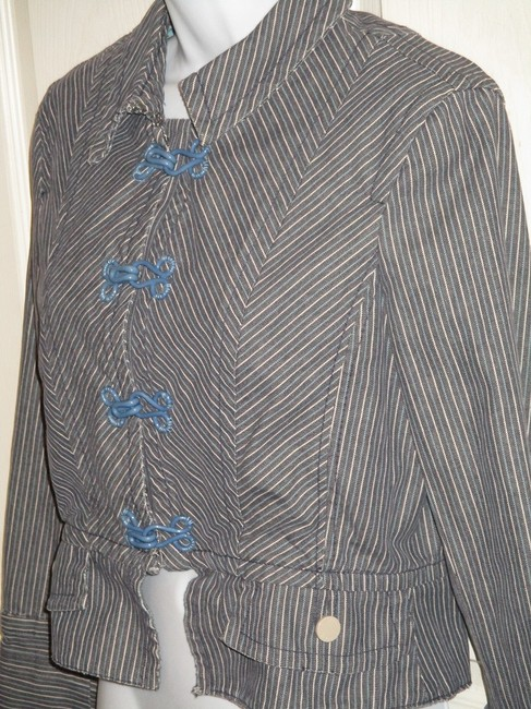 Marc Jacobs Striped Hook And Eye. 10 Blue Jacket
