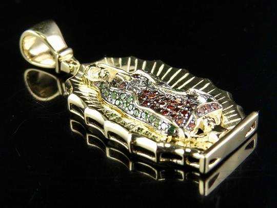 Other 10K Yellow Gold Mother Mary Shrine Green Red Real Diamond Pendant 3/10