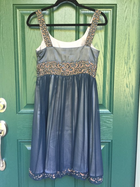 Adrianna Papell Beaded Embroidered Antique Gunmetal Dress