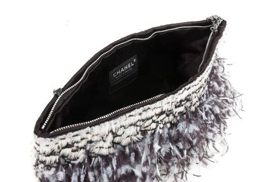 Chanel Satin Feathered Silver Chain Strap Shoulder Bag