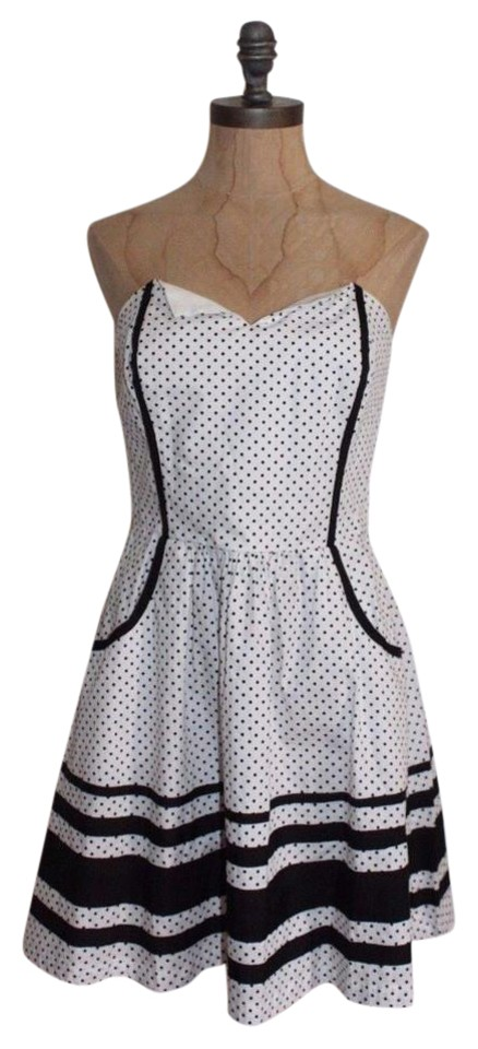 2b Bebe Black White Polka Dot Strapless Fit And Flare Short Cocktail