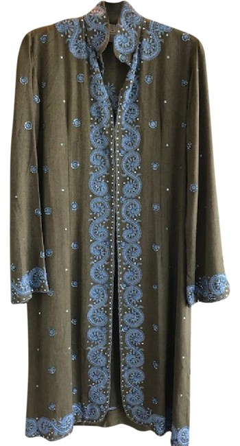 Preload https://item5.tradesy.com/images/lotta-stensson-kaki-green-with-blue-embroidery-long-jacket-coat-size-8-m-21565939-0-2.jpg?width=400&height=650