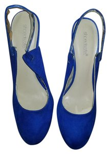 ShoeDazzle Suede Ankle Strap Closed Toe Mary Jane Blue Pumps