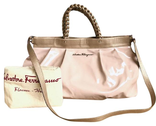 Item - Gold Trim Pleated Pink Patent Leather Tote
