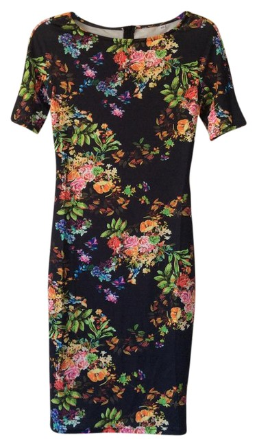 Preload https://img-static.tradesy.com/item/21566229/shein-black-with-multicolored-floral-design-mid-length-night-out-dress-size-2-xs-0-2-650-650.jpg