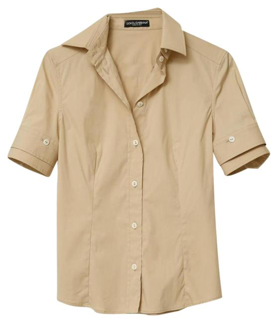 Preload https://item1.tradesy.com/images/dolce-and-gabbana-khaki-cotton-short-sleeve-shirt-blouse-button-down-top-size-2-xs-21566250-0-2.jpg?width=400&height=650