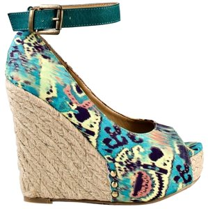 Chinese Laundry Ikat Aztec Espadrille Hidden Ankle Strap Teal Platforms