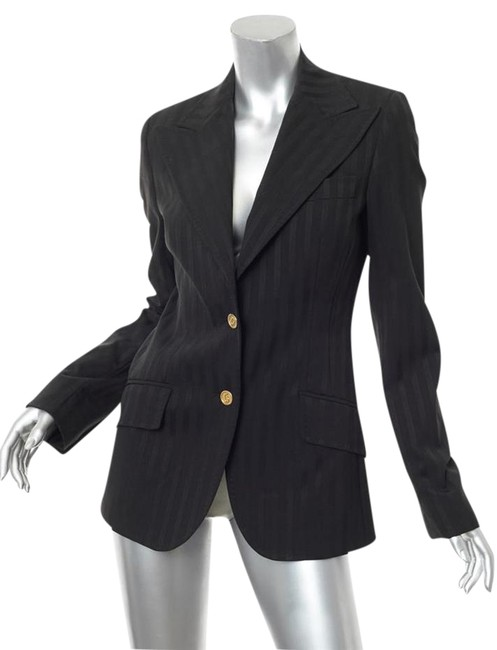 Preload https://item1.tradesy.com/images/dolce-and-gabbana-black-striped-two-button-jacket-coat-blazer-size-6-s-21566315-0-2.jpg?width=400&height=650