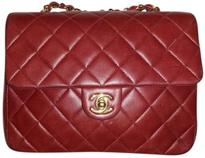 Chanel Mini Square Cc Logo Classic Flap Lambskin Leather Shoulder Bag