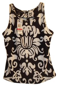 INC International Concepts Stretchy Sleeveless Classic & Tasteful Top black white