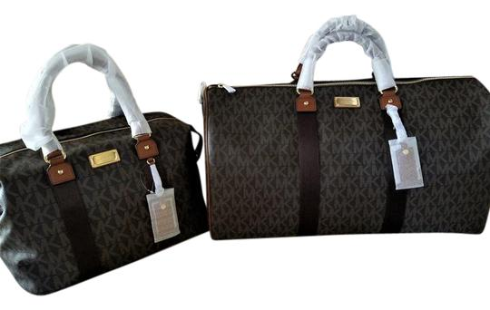 Preload https://item4.tradesy.com/images/michael-kors-pay-439-at-checkout-now-2-pc-duffle-and-lrg-mk-brown-pvc-coated-canvas-weekendtravel-ba-21566478-0-4.jpg?width=440&height=440