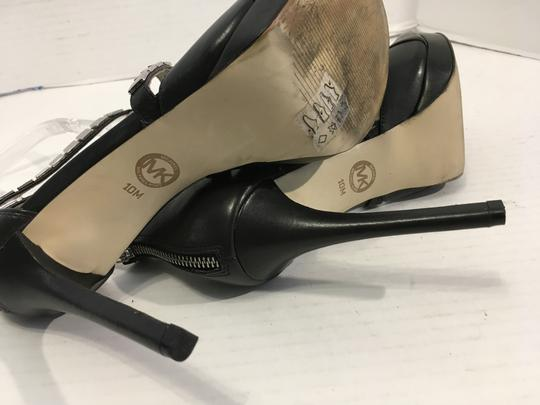 MICHAEL Michael Kors Upper Stilettos Make an offer Black leather heels, lining, insoles leather, T and side straps covered silver metal plates back zippers small platform Sandals