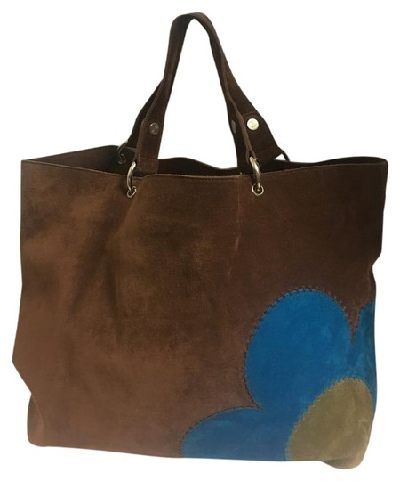 Preload https://item5.tradesy.com/images/celine-with-floral-applique-and-pouchette-brownbluegreen-suede-leather-tote-21566699-0-2.jpg?width=440&height=440