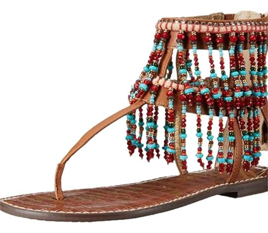 Sam Edelman Beaded Crystal Leather Saddle brown Sandals