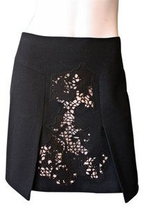 Tibi Wool Embroidered Cut-out Mini Skirt Black