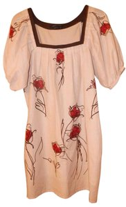 BCBGMAXAZRIA short dress Off-White w/Red, Brown Cotton Painted Peasant Pleated Floral on Tradesy
