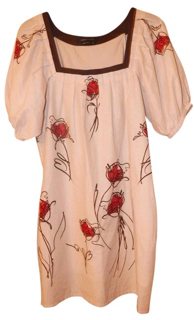 Preload https://item3.tradesy.com/images/bcbgmaxazria-off-white-wred-brown-pleat-peasant-with-painted-flowers-mid-length-short-casual-dress-s-21566957-0-2.jpg?width=400&height=650