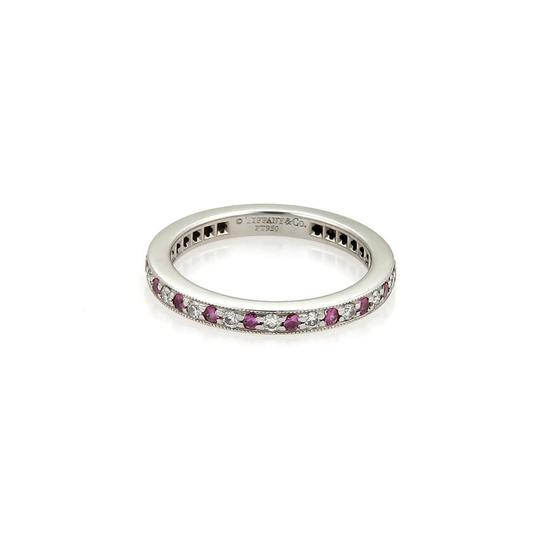 Tiffany & Co. Diamonds Pink Sapphire Platinum Milgrain Eternity Band Size 5