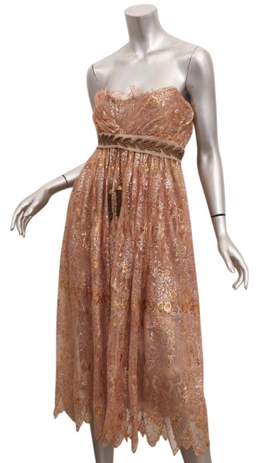 Preload https://img-static.tradesy.com/item/21567007/dolce-and-gabbana-womens-collector-s-gold-lace-strapless-mid-length-cocktail-dress-size-4-s-0-2-650-650.jpg