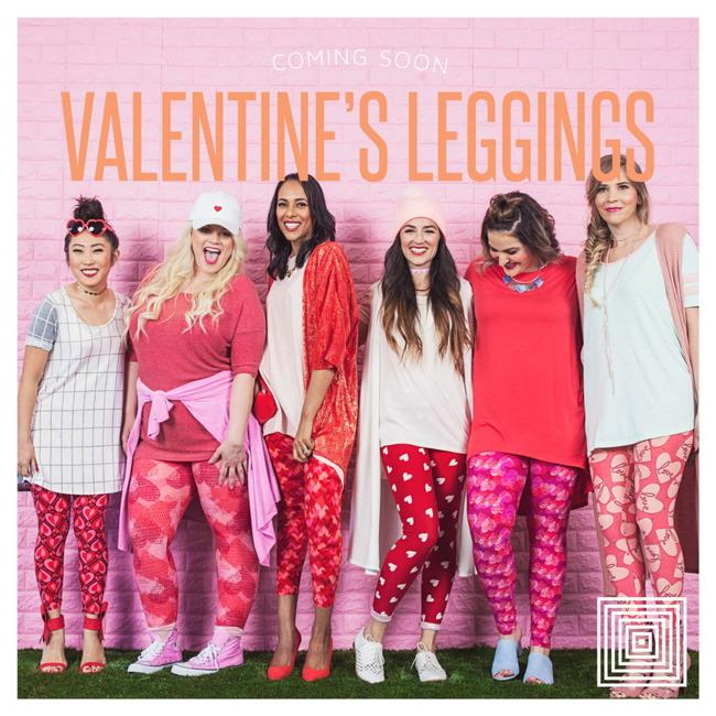 LuLaRoe Red, white and pink background Leggings