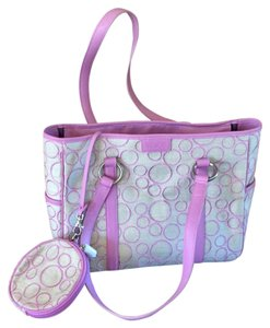 Tumi Tote in Lavender leather trim with beige canvas