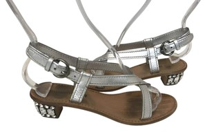 Miu Miu Prada Jeweled silver Sandals