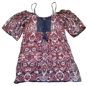 Angie short dress Navy Blue Paisley on Tradesy