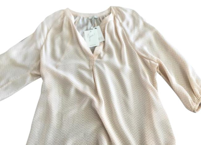 Joie Top White with light peach pattern