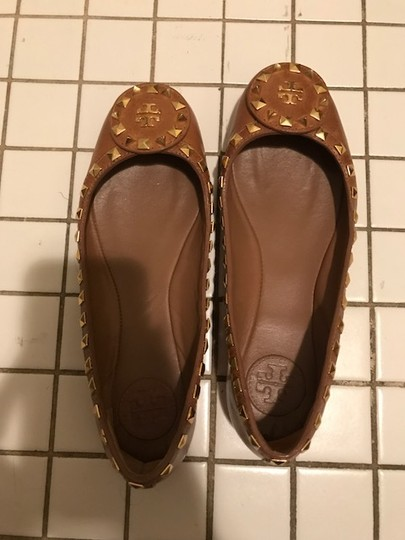 Tory Burch Leather Gold Brown Flats