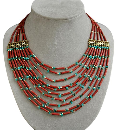 Preload https://item2.tradesy.com/images/gold-tone-blue-and-red-beads-tribal-necklace-21567591-0-2.jpg?width=440&height=440