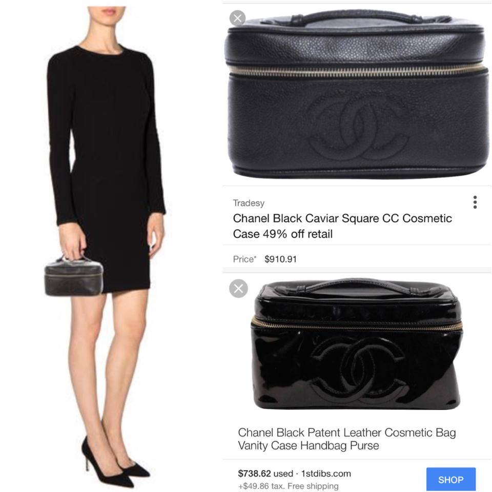 58e5b64eec3f Chanel CC logo Patent Vanity Case Train make up travel tote zip pouch Image  9. 12345678910