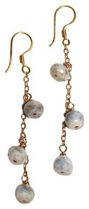Handmade Yellow Gold Stone Dangle Drop Earrings