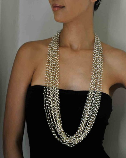 Hand Made Handmade Gold tone / white Necklace