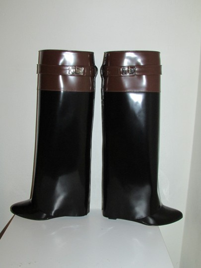 Givenchy Black Brown Glossy Leather Boots