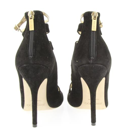 Jimmy Choo Cage Strappy Ankle Gold Hardware Black Sandals