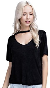 Honey Punch Black Cut Out Distressed Trend T Shirt